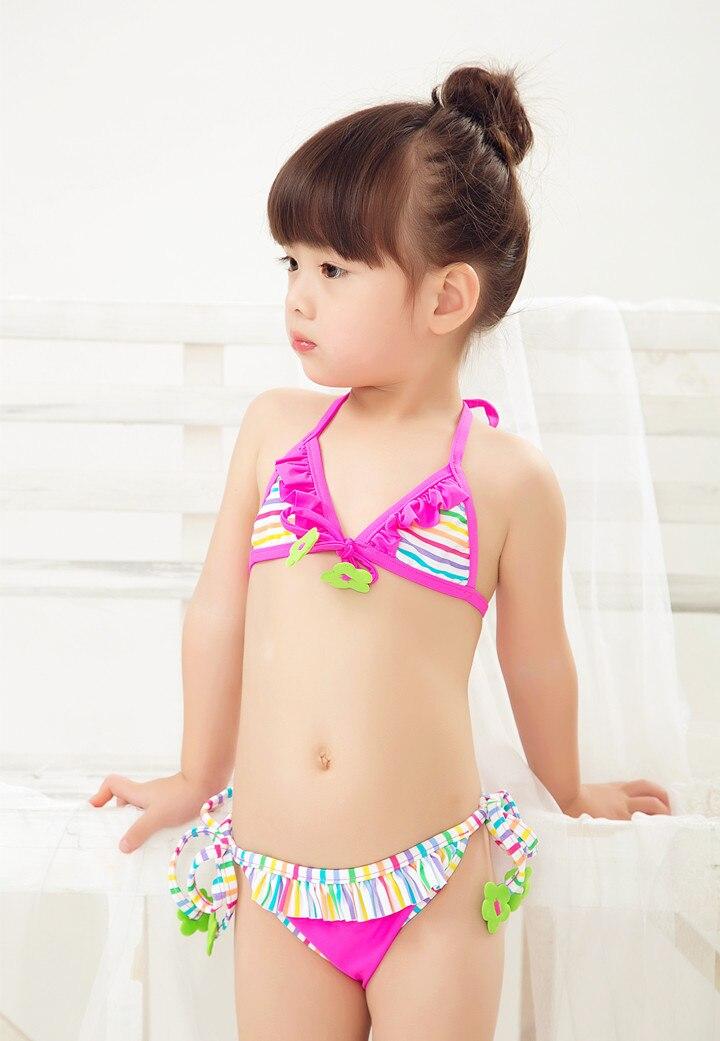 Micro KID'S Swimwear Little Girl Red Color Stripes Cute Flower Regulation Lace-up Bikini