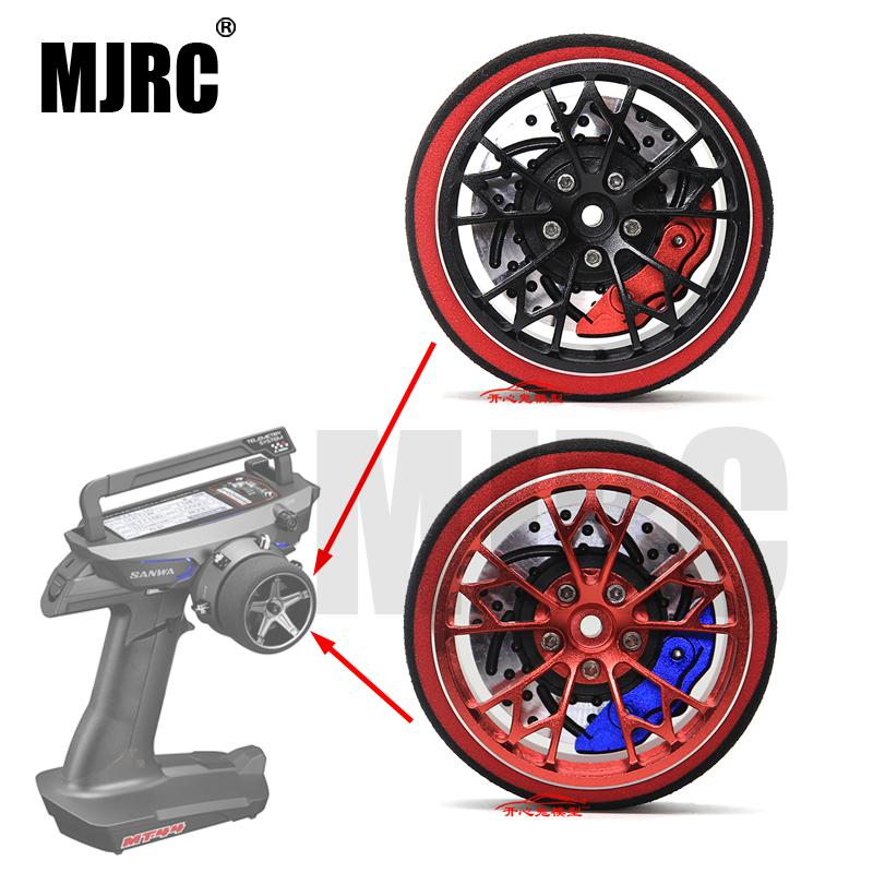 MJRC Black Red Metal Remote Control Handwheel For SANWA MT4 MT4S M11X M11 MX-V