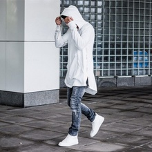OLOME Men Hooded Sweatshirts With Black White Gown Hip Hop Mantle Hoodies Fashion Jacket long Sleeves Cloak Mans Coats Outwear