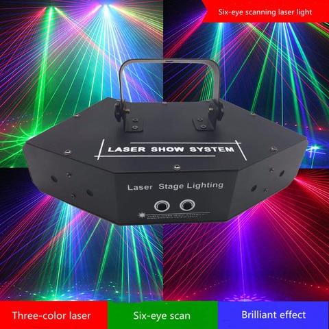 dmx 512 ventilador em formato de seis olhos laser rgb luz de scanner para dj