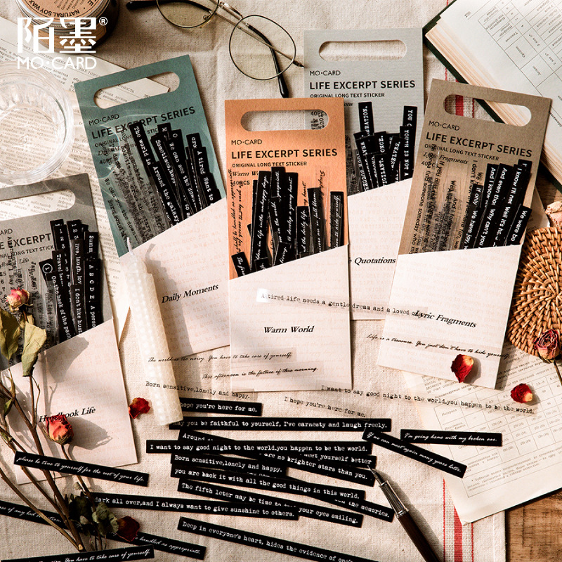 Vintage Stickers Scrapbooking Life Excerpt Decorative Sticker Aesthetic Diary Black Word Letter Sticker For Notebooks Stationery