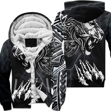 Polynesian Lion 3D printed zipper Hoodies Men Women Fashion Warm double plus velvet jacket cosplay costumes
