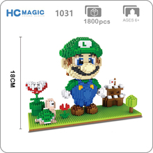 HC 3454 Game Super Mario Luigi Castle Goomba 3D Model DIY Micro Diamond Mini Building Small Blocks Bricks Assembly Toy no Box