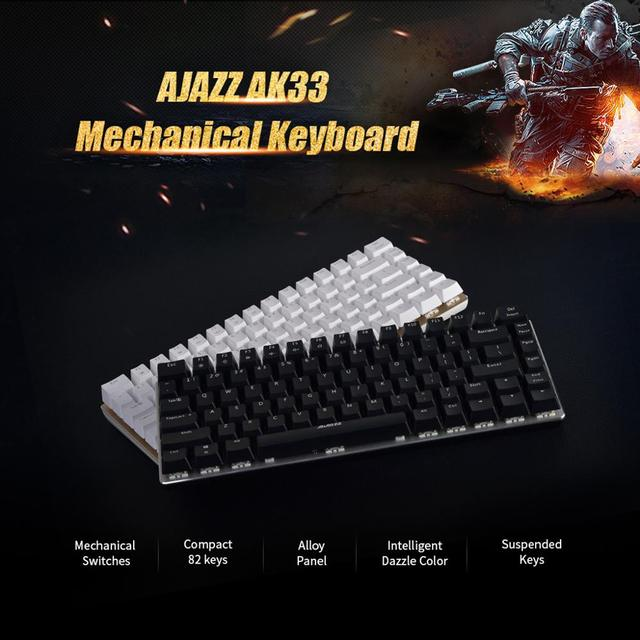 Ajazz AK33 Mechanical Gaming Keyboard Black / Blue Switch 82 Keys Wired Keyboard for PC Games Ergonomic Cool LED Backlit Design 4