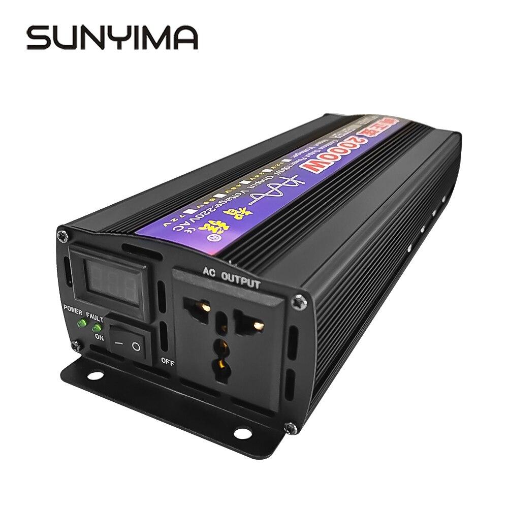 SUNYIMA nowy 2000W czysty sinus bezpiecznie ze falownik DC12V/24V/48/60V do AC220V/110V podwójny cyfrowy wyświetlacz mocy domu konwerter mocy samochodu