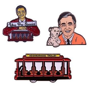 Broche esmaltado de Fred Rogers con pin para la personalidad de la televisión americana, músico, titiritero, escritor, productor y ministro presbiteriano