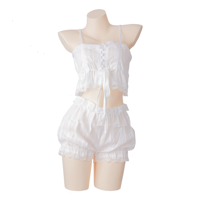 Sexy White Lingerie Set Lolita Ruffle Underwear Panties Bondage Nightwear Caitsuit Costume Transparent Dress Lolita Cosplay Women's Clothing & Accessories cb5feb1b7314637725a2e7: White Set