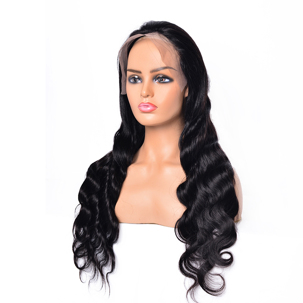 QING SI Brazilian Human Hair Wig Lace Frontal 13x4 Lace Front Wigs  With Pre Plucked Hairline 12-24 Inch For Black Woman