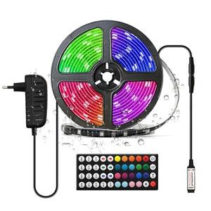 Tira de luces LED 5050RGB, tira de luces de colores cambiantes, juego de 5 metros RF44 Key, 30 luces resistentes al agua para decoración de vacaciones