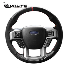 DIY Car Steering Wheel Cover Black Suede Leather For Ford F-150 F150 King Ranch Lariat Platinum XL XLT 2015 2016 2017 Volant le camembert volant