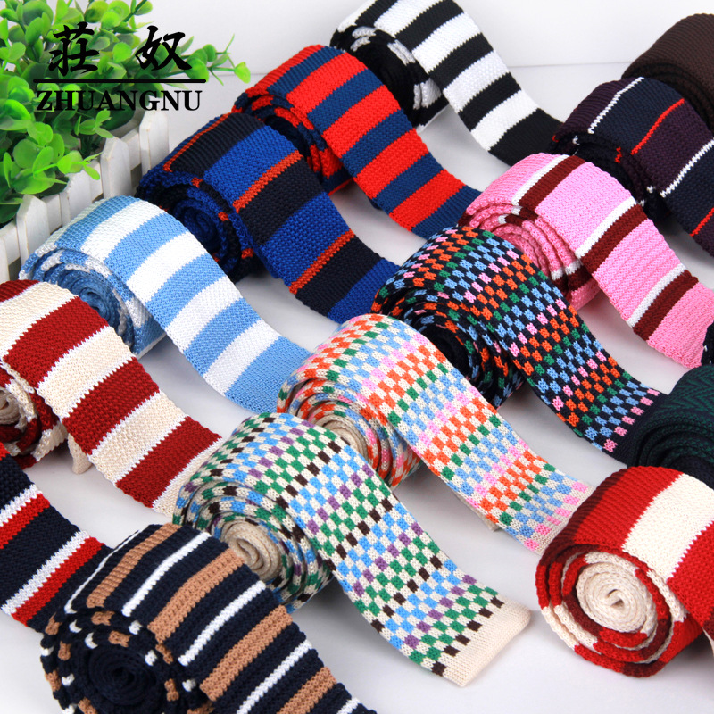 Formal Men's Classic Knitted Tie Striped Red Bule Black Dots Fashion Knit Handmade Narrow Neckties Skinny Tie Drop Shipping