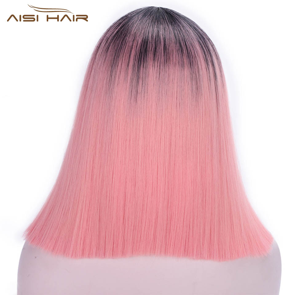 I's A Wig Ombre Pink Wig Short Straight  Synthetic Wigs Blonde Black Hair Bob Wigs For Women High Temperature Fiber