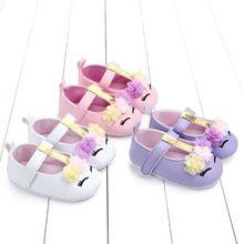 oddler Baby Girls 0-18M Flower Unicorn Shoes PU Leather