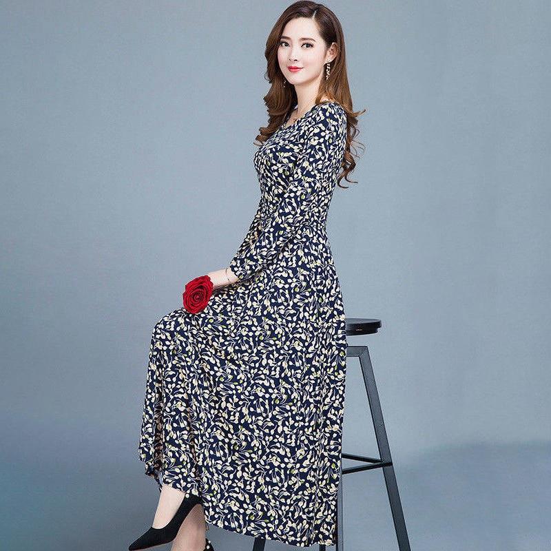 Women dresses autumn Casual Slim ladies Dress A-Line Printed Round Neck Long Sleeve Plus Size vestidos
