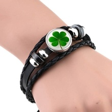 цена на St Patrick's Day Shamrock Bangle Black Leather Bracelet Irish Pride Clover Leaf Jewelry Charm Bracelet Lucky Gift for Women Men
