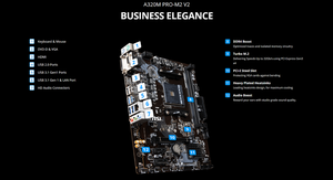 Image 3 - MSI материнская плата A320M PRO M2 V2 системная плата AMD Socket am4 ddr4 memory rams M.2 SATAIII ssd HDMI + VGA + DVI PCI E 3,0X16 материнская плата для рабочего стола 2011
