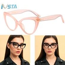 IVSTA TF Luxury Brand Designer Cat Eye Glasses Frame Women Butterfly Oversized Optical Pink Clear Myopia for Sight Prescription