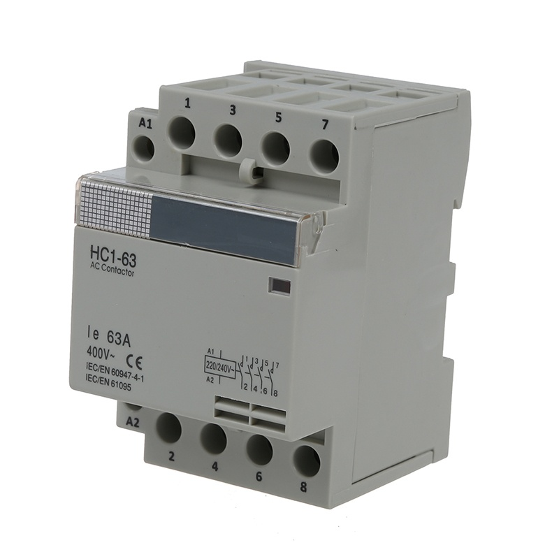 35 Mm DIN Support Via AC400V 63A 4-pin Modular Household AC Contactor