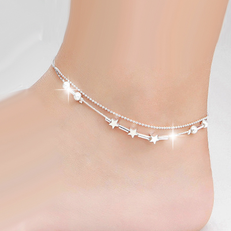 2018 new fashion Korean anklet jewelry double pink beads stars anklet silver plated fashion silver plated anklet