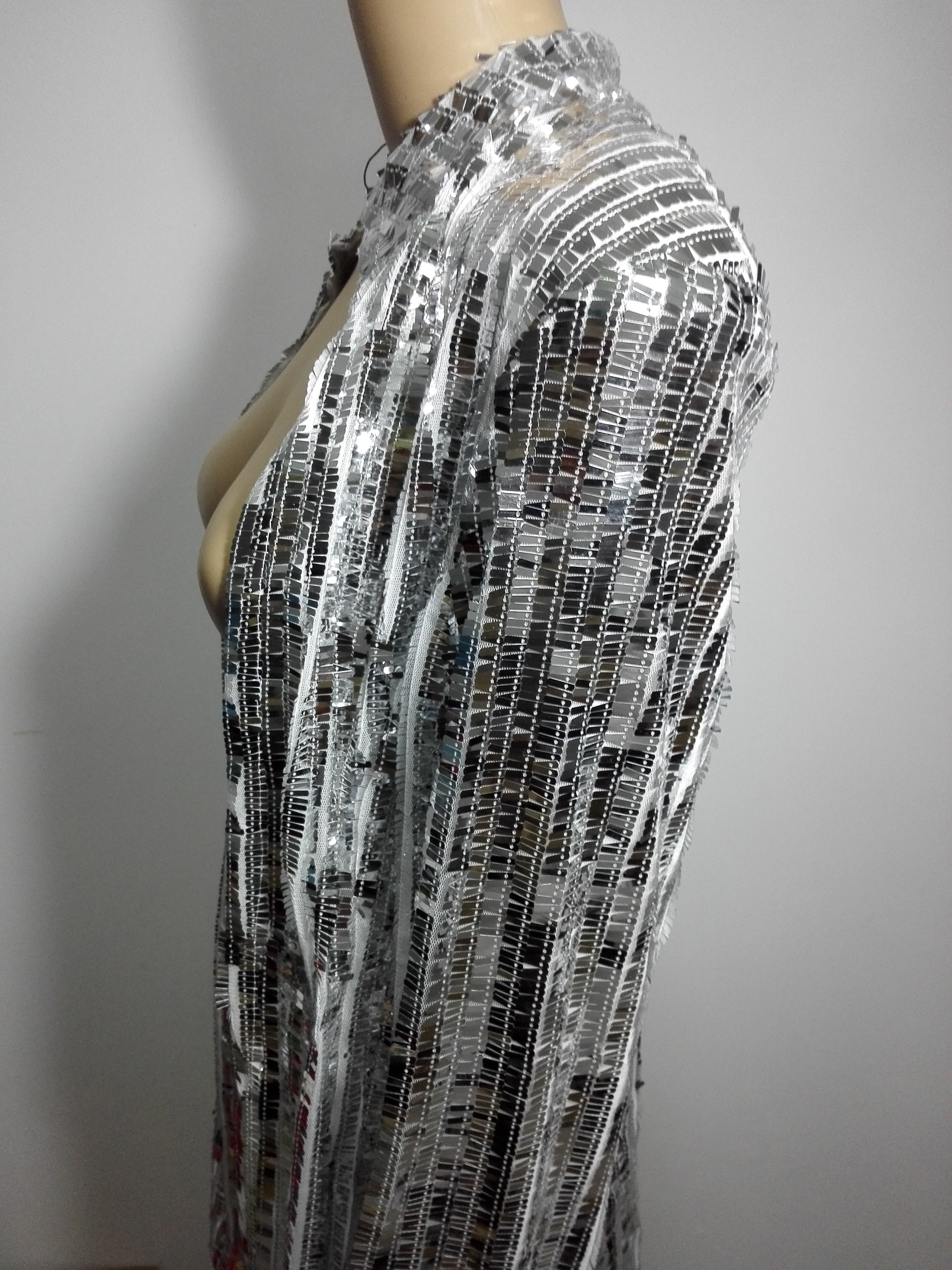 Jacket Sequins Long Jacket Stage Singer DS DJ Nightclub Costume Photography Photo Slim Coat Female Sexy Show Party Silver