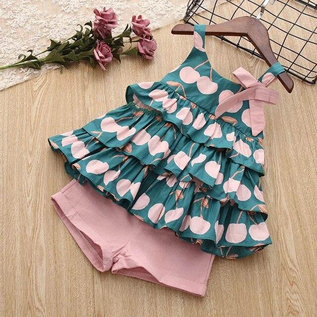 Melario print Kids Girls Clothing Sets Dot Summer Baby Girls Clothes Sleeveless T-Shirt Shorts Suit 2Pcs Children Clothes Suits 5