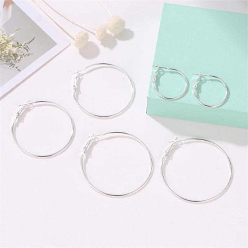 6 Pair set Gold Statement Earrings For Women Big Round Silver Hoop Earrings Circle Ear Studs Jewelry Gift Earring Sets Wholesale in Hoop Earrings from Jewelry Accessories