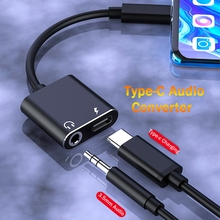 Jack-Adapter Usb-C-Converter Headphone Audio-Cable Type-C 2-In-1 AUX for Huawei Mate