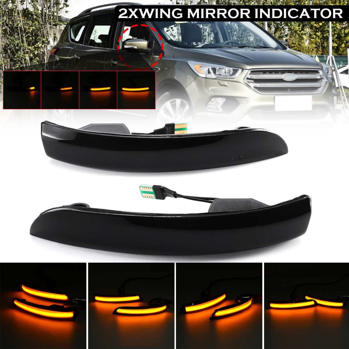 Pair Flowing Turn Signal Light LED Side Wing Rearview Mirror Dynamic Indicator Blinker Light For Ford Kuga / Escape 2013-2018