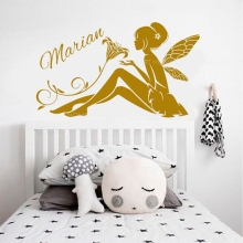 Personalized Girls Name Fairy Flower Wall Sticker Vinyl Home Decor Girls Bedroom design Nursery Baby Kids Room Decals Mural 3691