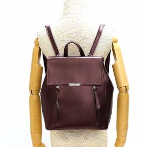 Image 4 - Femme sacs à Dos solide femmes école Sac à Dos Mochilas femmes en cuir sacs à Dos de haute qualité dames Sac à Dos Vintage Sac A Dos nouveau