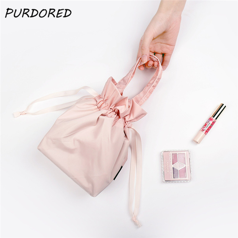PURDORED 1 Pc Women Drawstring Cosmetic Bag Travel Makeup Organizer Bag Solid Color Make Up Storage Pouch Toiletry Beauty Kit