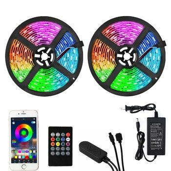 RGB 5050 LED Strip Light 10M 15M LED Light 12V Waterproof Ambient Lighting Diode Tape TV Backlight With Remote Controller EU