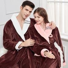 Bathrobe Sleepwear Robe-Gown Nightwear Kimono Fleece Thicken Male Ultra-Long 4XL Warm