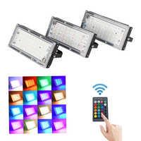 Светодиодный RGB прожектор 50 Вт Открытый Точечный светильник Настенный светильник отражатель IP66 водонепроницаемый светильник ing садовый пр...