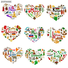 ZOTOONE Iron on Heart National Building Pathes for Clothing DIY Heat Transfers Print T-shirt Dresses Washable Stickers G