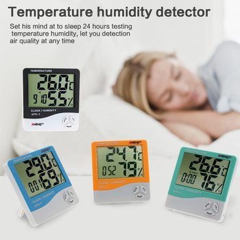 HTC-1 Indoor LCD Electronic Digital Temperature Humidity Meter Digital Thermometer Hygrometer Alarm Clock Weather Station free shipping temperature alarm indoor and outdoor large screen electronic hygrometer oversized word was high and low temperatur page 3
