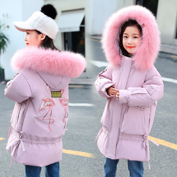 -30 degrees Girls clothing warm Down jacket for girl clothes 2019 Winter Thicken Parka real Fur Hooded Children Outerwear Coats