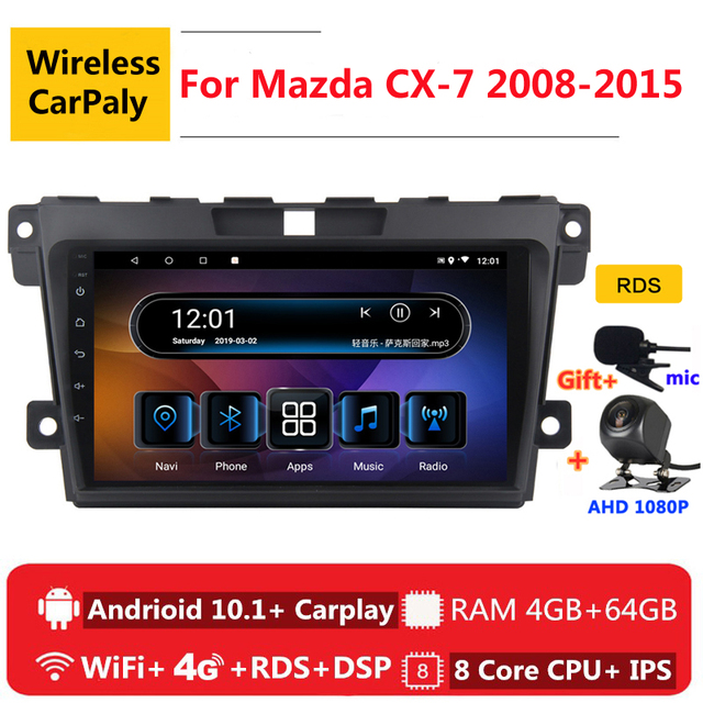 2 דין 8 core אנדרואיד 10 רכב רדיו האוטומטי למאזדה CX 7 CX7 CX 7 2008 2009 2010 2015 ניווט GPS DVD מולטימדיה נגן