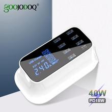 เคส GOOJODOQ PD Charger 40W 8 พอร์ต USB Charger สมาร์ทจอแสดงผล LED USB Fast Charging สำหรับ Adapter iPhone ipad xiaomi Samsung