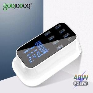 Image 1 - GOOJODOQ ładowarka PD 40W 8 Port USB ładowarka inteligentny wyświetlacz ledowy USB szybkie ładowanie dla Apple iPhone Adapter ipad Xiaomi Samsung