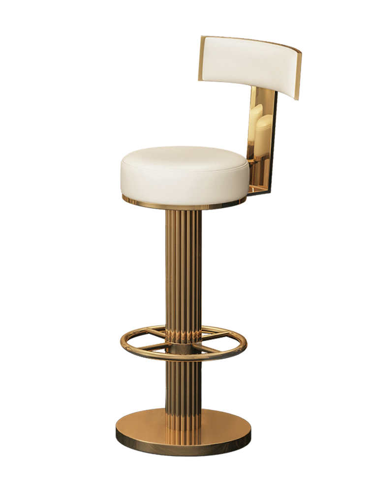 Light Luxury Bar Chair, Post-modern Stainless Steel Metal   Domestic Hong Kong Style Leather Art High Back Chair Model