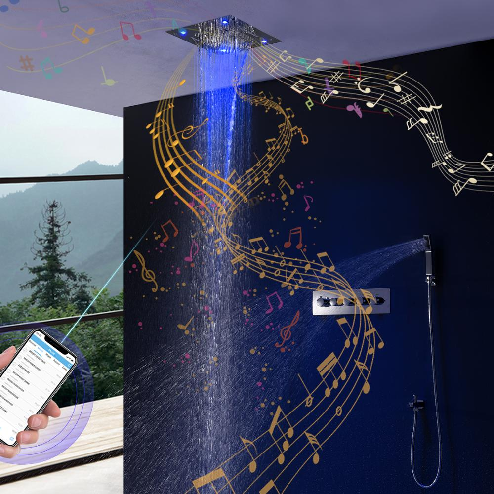 Bathroom Bluetooth Music Shower Set Ceiling Colorful LED Shower Rainfall Waterfall Shower Head Thermostatic Mixer Shower Faucets