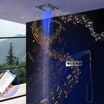 modern led ceiling shower head embedded massage rainfall waterfall shower faucet bathroom accessories big shower panel 700 380mm Bathroom Bluetooth Music Shower Set Ceiling Colorful LED Shower Rainfall Waterfall Shower Head Thermostatic Mixer Shower Faucets