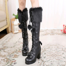 Shoes Boots Lolita Round-Head Victoria Japanese Girls Cosplay Warm Sweet Princess Hair-Ball