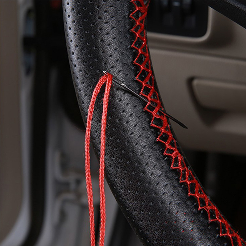 DIY Braid On Steering Wheel Car Steering Wheel Cover With Needles And Thread Artificial leather Diameter 38cm Car Steering Cover