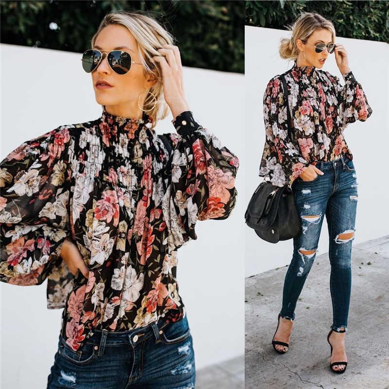 Yüksek Yaka Bluz Moda Bayanlar Çiçek Uzun Kollu Casual Gömlek Üst Gevşek Fener Kollu Baskılı Kaplumbağa Boyun Bluz Gömlek Üst