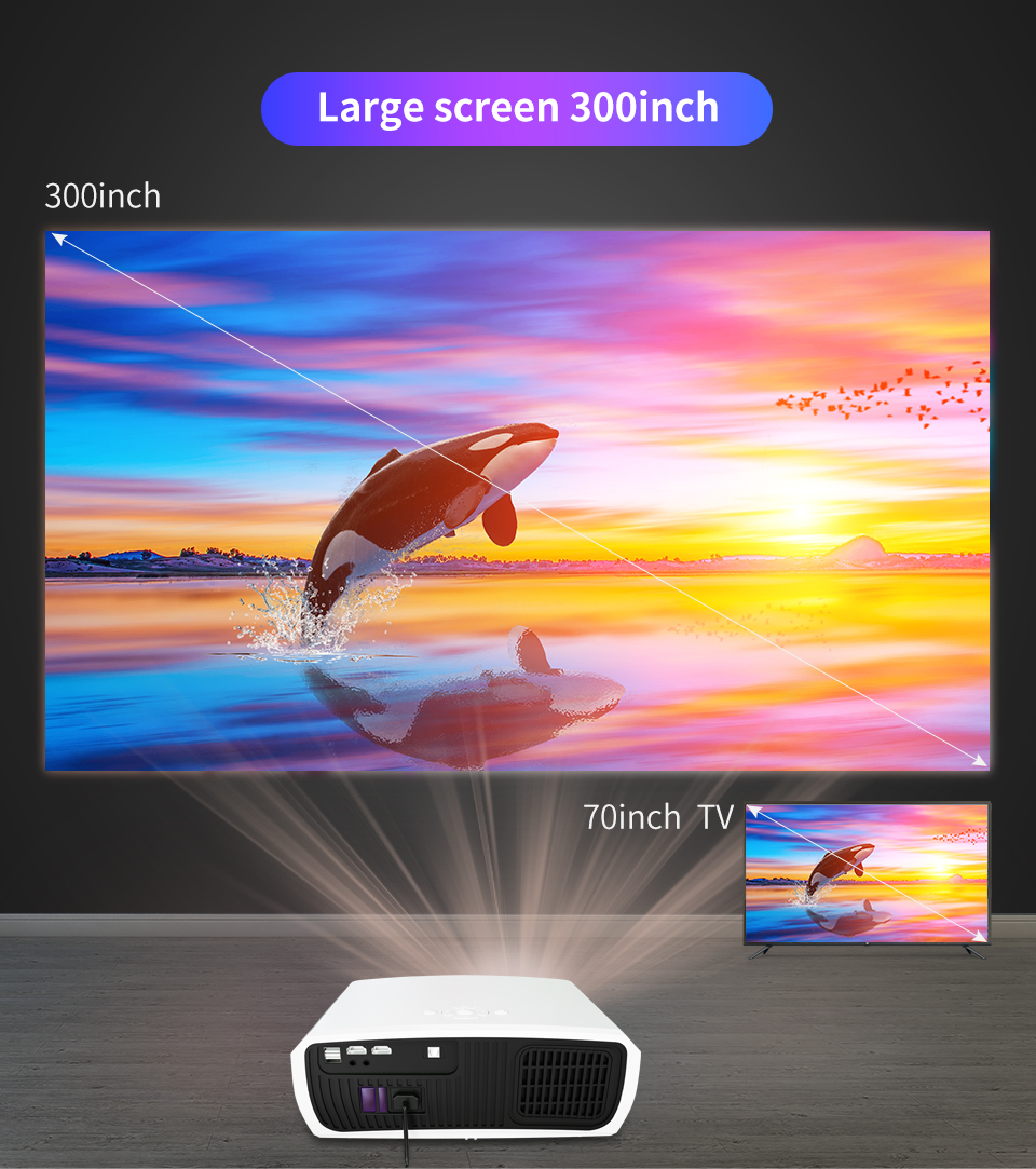Wzatco c3 novo projetor led android 10.0 wi fi completo hd 1080p 300 polegada grande tela proyector 3d cinema em casa inteligente vídeo beamer-3