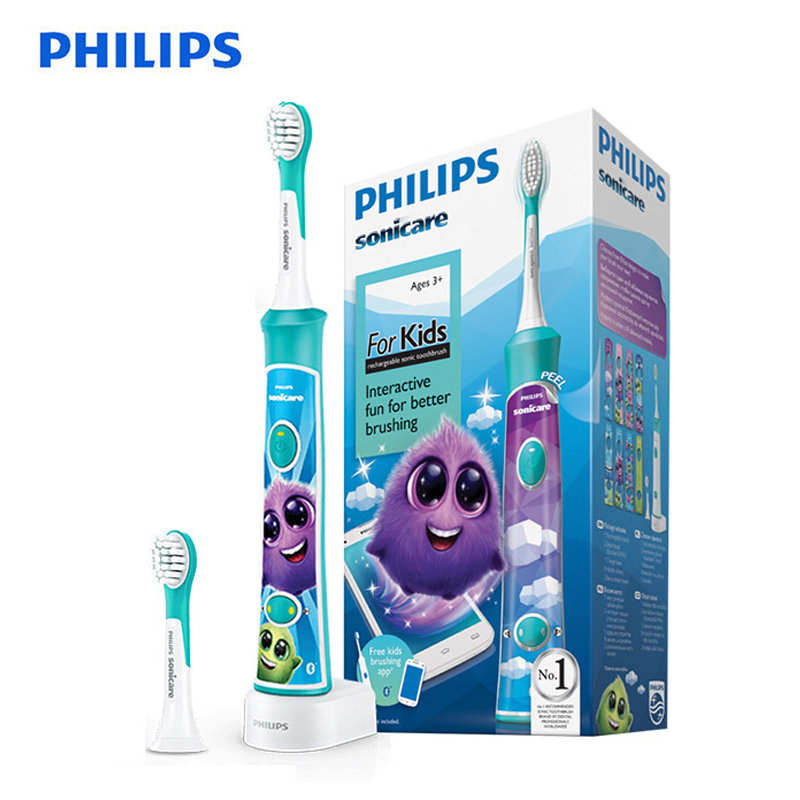 PHILIPS HX6322 Electric Toothbrush Kids Automatic Toothbrush Waterproof Sonic Vibration Rechargable for Children image