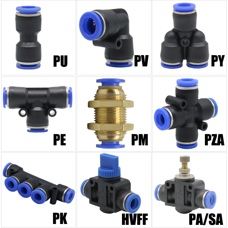 Pneumatic fittings PY/PU/PV/PE water pipes and pipe connectors direct thrust 4 to 16mm/ PK plastic hose quick couplings 1