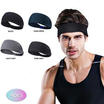 4 sztuk opaska dla mężczyzn kobiety elastyczne sportowe opaski do włosów opaska na głowę opaski nakrycia głowy Headwrap sportowe akcesoria do włosów zespół # T1G tanie i dobre opinie feitong CN (pochodzenie) Polyester Dla dorosłych Moda Stałe Hairpin